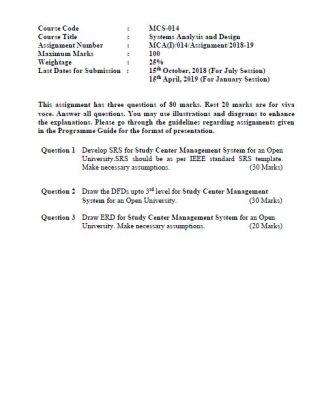 MCS-014 Solved Assignment 2018-19 IGNOU BCA MCA PDF Solution