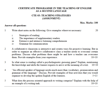 CTE-03 Solved Assignment 2018-19 For IGNOU