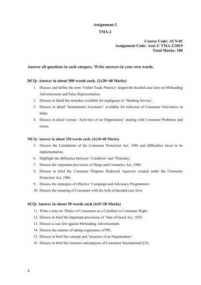 ACS-01 Solved Assignment 2019 English Medium TMA-2