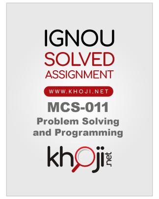 MCS-011 Solved Assignment IGNOU BCA MCA