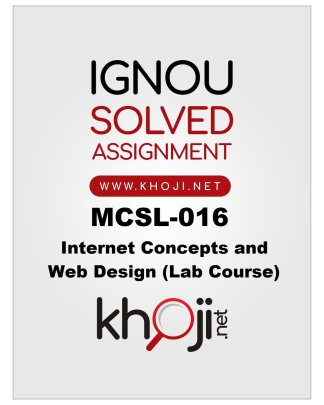 MCSL-016 Solved Assignment for IGNOU BCA and MCA Product Image