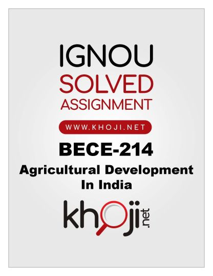 BECE-214 Solved Assignment For IGNOU BA Economics