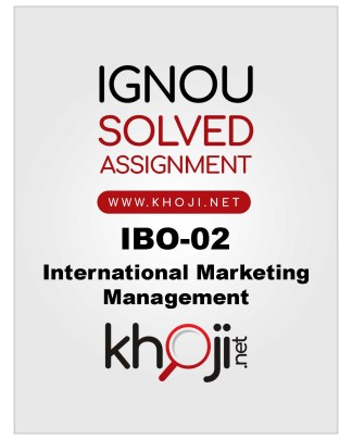 IBO-02 Solved Assignment for IGNOU