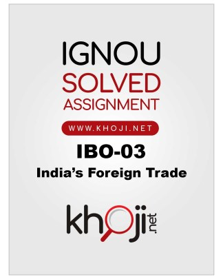 IBO-03 Solved Assignment For IGNOU