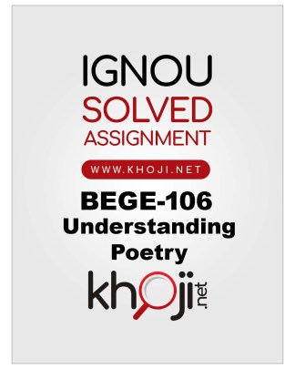 BEGE-106 Solved Assignment For IGNOU BA English