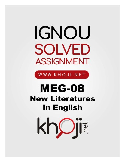 MEG-08 Solved Assignment 2019-20 MA Englsih