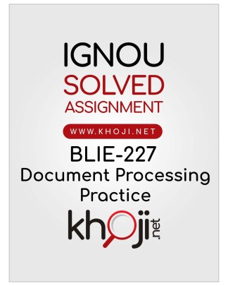 BLIE-227 Solved Assignment English Medium IGNOU BDP BLIE