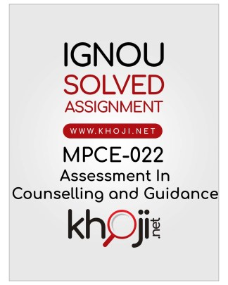MPCE-022 Solved Assignment For IGNOU MAPC 2nd Year