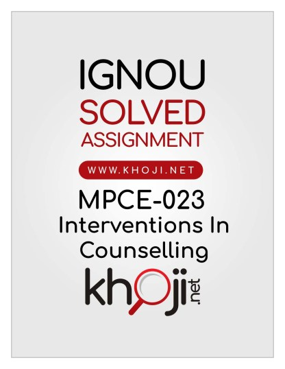 MPCE-023 Solved Assignment For IGNOU MAPC 2nd Year