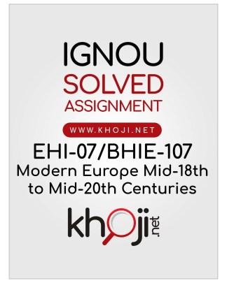 EHI-07 BHIE-107 Solved Assignment English Medium For IGNOU BA BDP