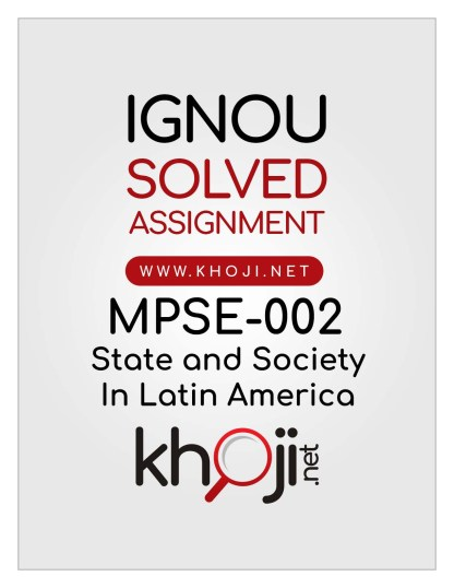 MPSE-002 Solved Assignment English Medium For IGNOU MA Political Science