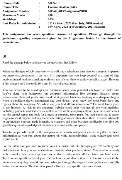 MCS-015 Assignment Questions Page-1