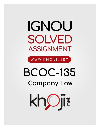 BCOC-135 Solved Assignment English Medium IGNOU BCOM CBCS BCOMG