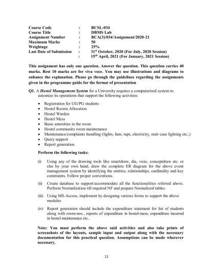 BCSL-034 Assignment Question For BCA 3rd Semester IGNOU