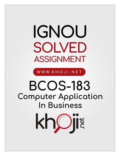BCOS-183 Solved Assignment English Medium IGNOU BCOM CBCS BCOMG