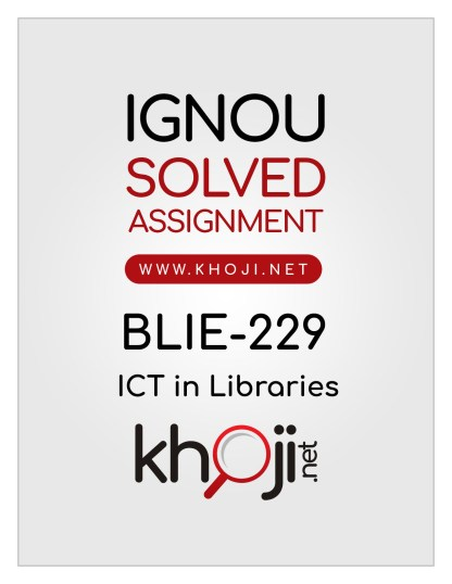 BLIE-229 Solved Assignment In English Medium For IGNOU