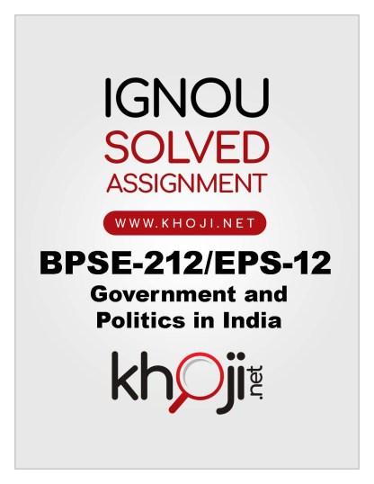 BPSE-212 EPS-12 Solved Assignment English Medium IGNOU BA BDP