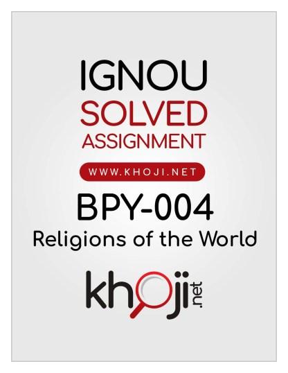 BPY-004 Solved Assignment English Medium For IGNOU BA BDP