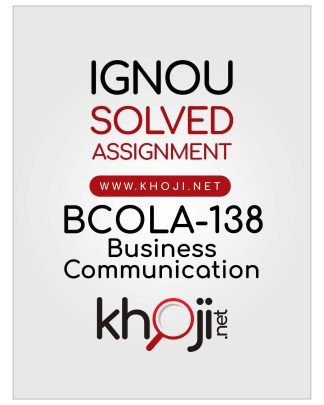 BCOLA-138 Solved Assignment In English