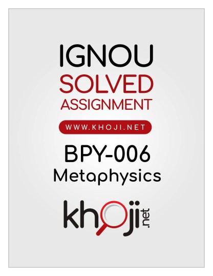 BPY-006 Solved Assignment English Medium For IGNOU BA BDP
