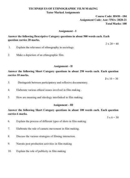 BSOS-184 English Medium Assignment Questions 2020-2021