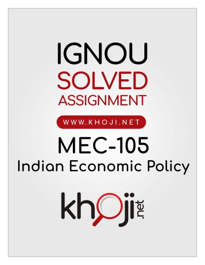 MEC-105 Solved Assignment English Medium IGNOU MA Economics MEC