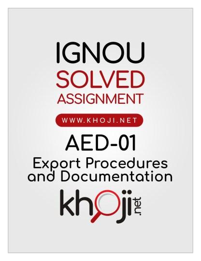 AED-01 Solved Assignment English Medium IGNOU BCOM