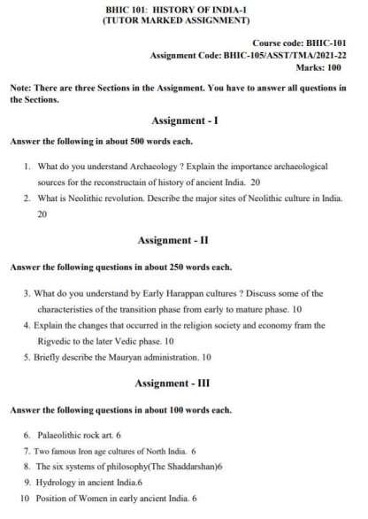 BHIC-101 English Medium Assignment Questions 2021-2022