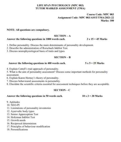 MPC-003 Assignment Questions 2021-2022