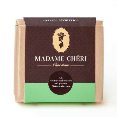 MADAME CHĚRI ~ Edle Vollmilchschokolade mit ganzen Pistazien