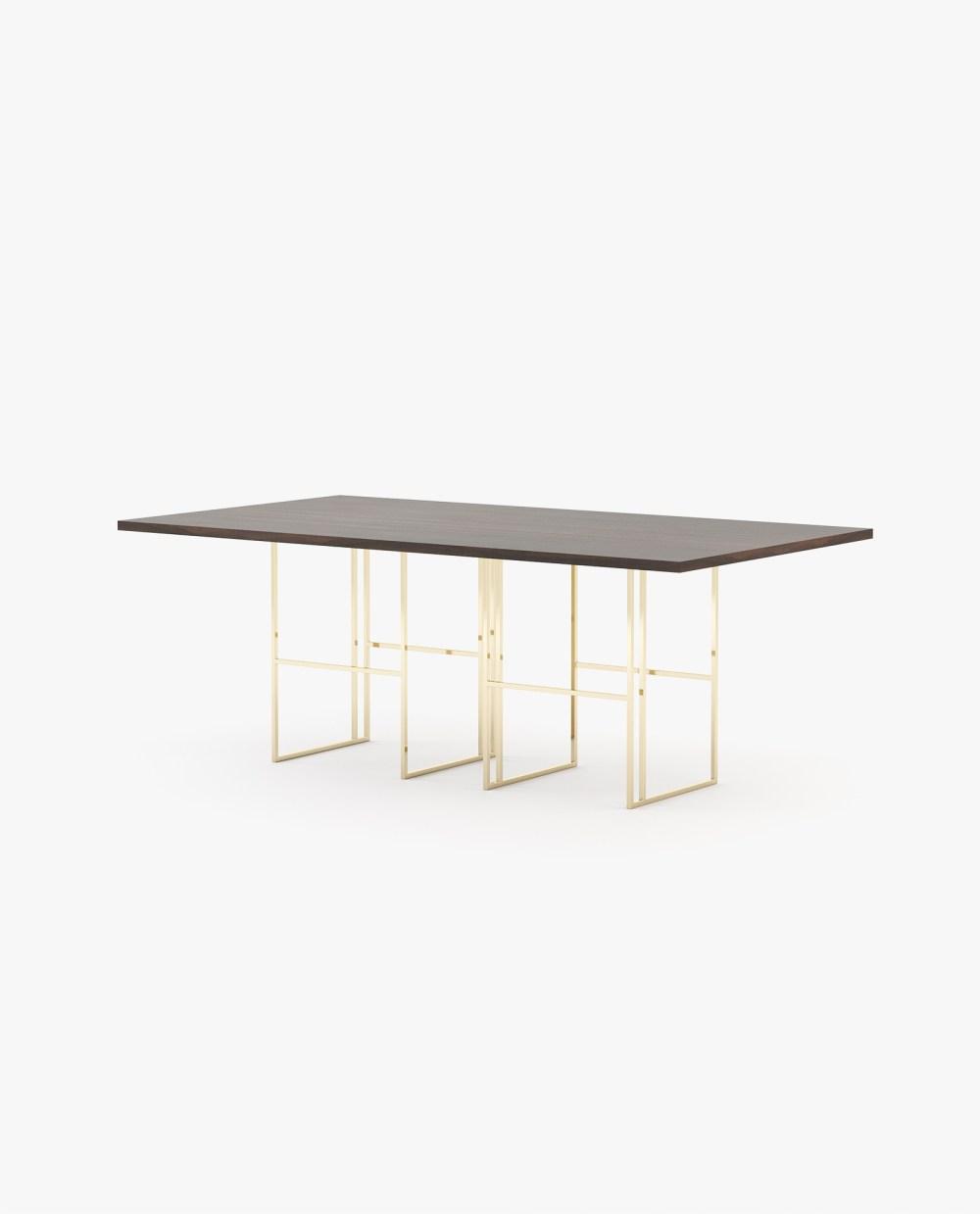 mesa de jantar com madeira e inox dourado