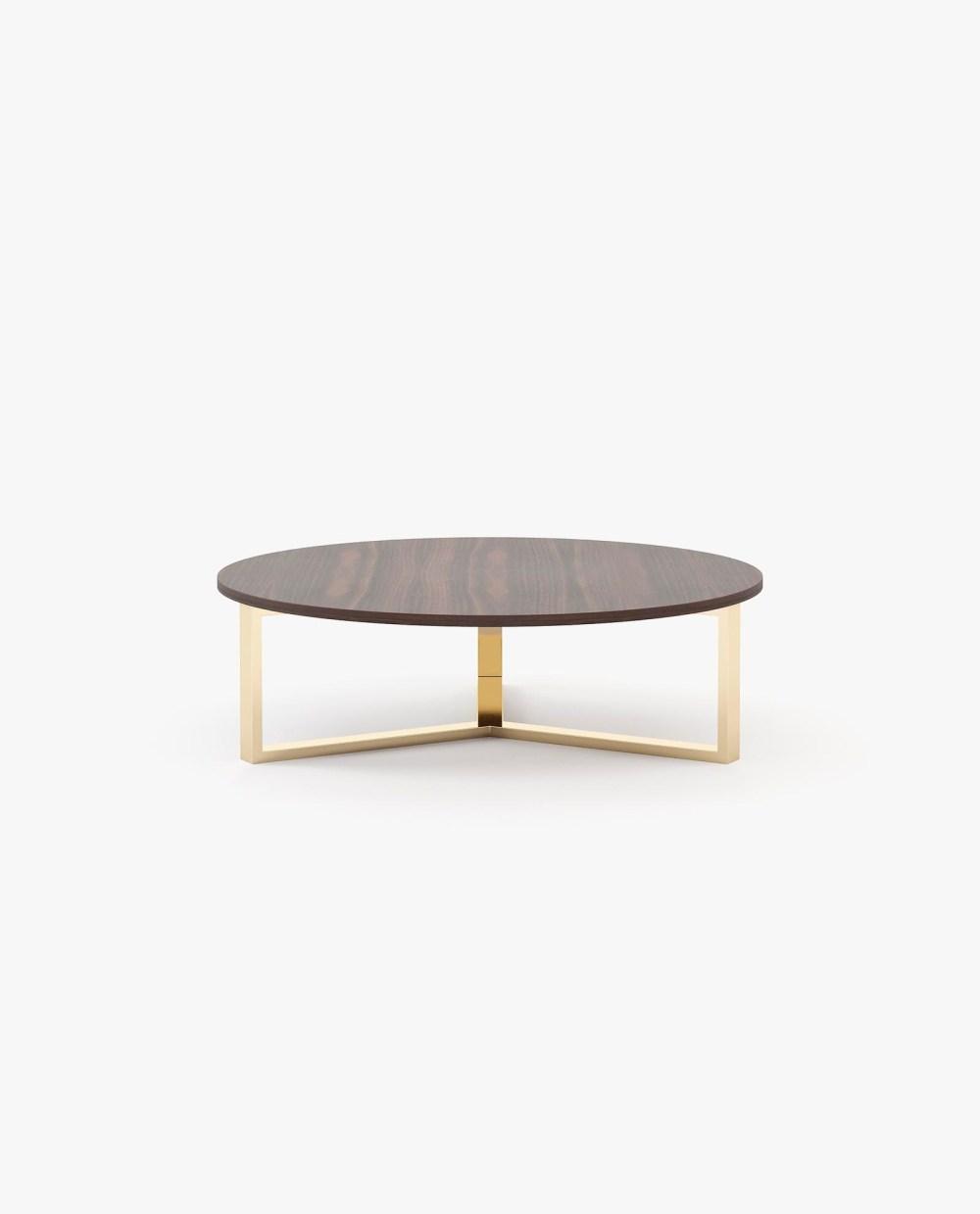 mesa de centro Dili com acabamento em madeira e metal