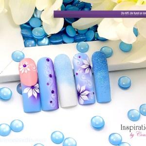 Nailart Airbrush Great Blue, Airbrushnails Inspiration