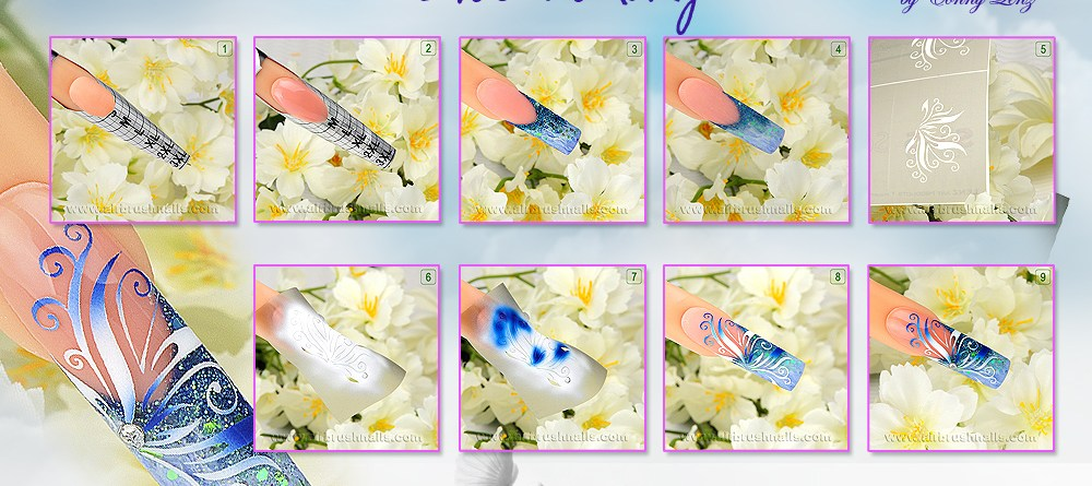 "Airbrushnails Step by Step ""Blue-Sunday"" Nailart"