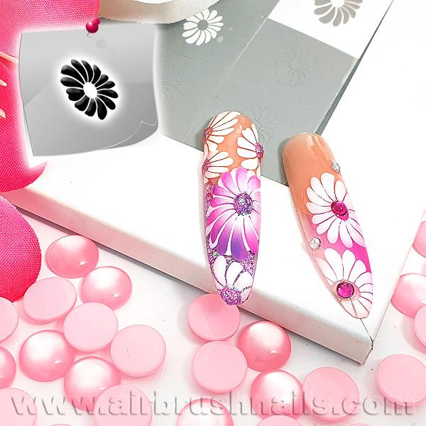 24 Nailart Airbrush Klebeschablonen Blumen BL4391, selbstklebend, Airbrushnailart
