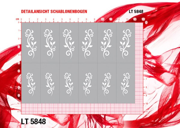 Nailart Airbrush Klebeschablone LT5848 Stiletto XL