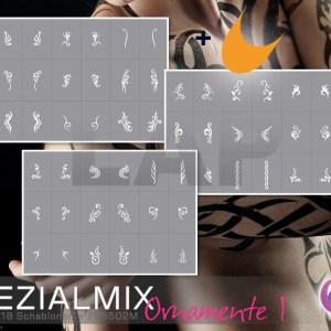 Airbrush Klebeschablonen für Nailart, Spezial Mix Ornamente 1