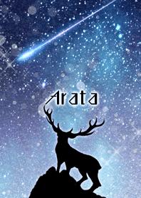 あらた用雪降る星空を見上げるトナカイ