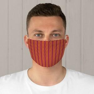 Orange and Maroon Fabric Face Mask