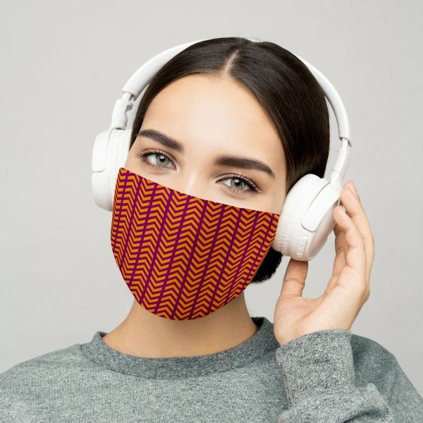 Orange and Maroon Fabric Face Mask