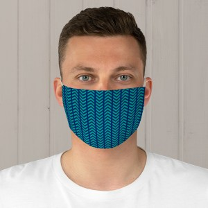 Blue and Teal Striped Chevron Fabric Face Mask