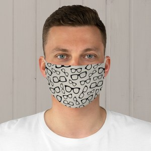 Black Glasses Fabric Face Mask