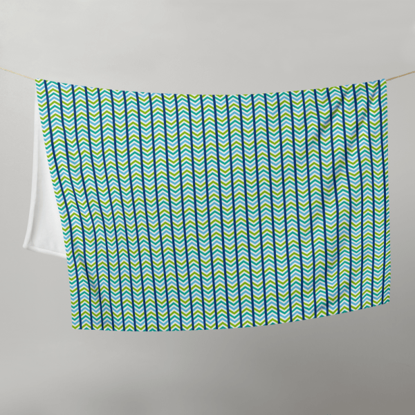 chevron throw blanket hanging on a clothesline