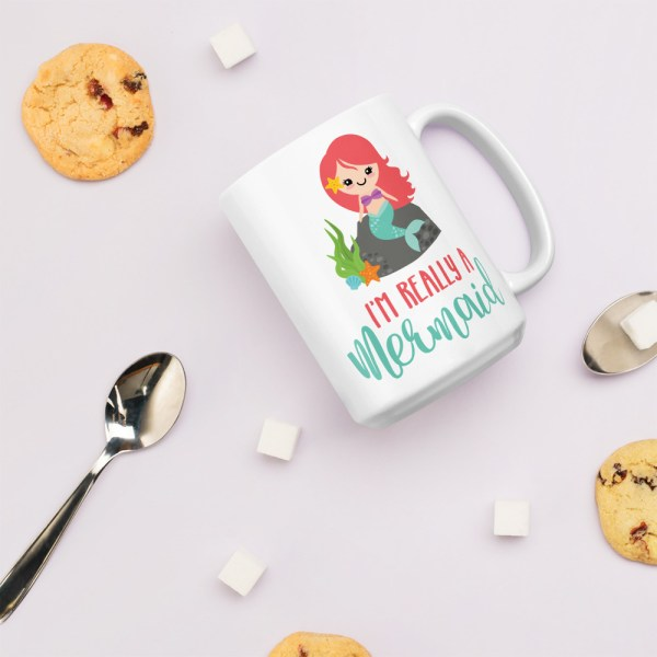 15oz really a mermaid mug with cookies and spoons