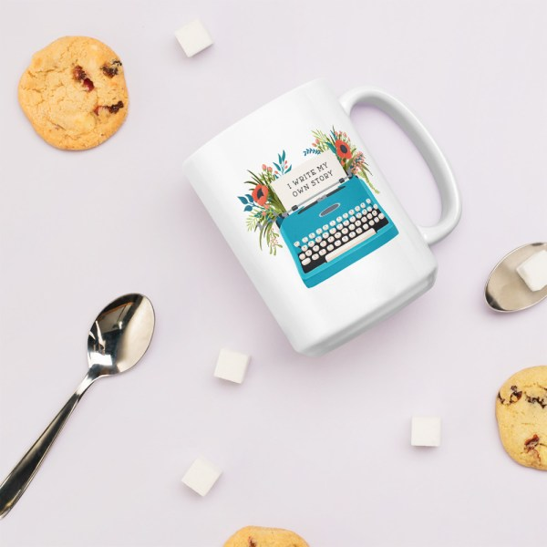 15oz my own story typewriter mug with cookies and spoons
