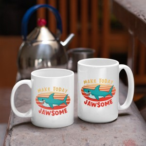 two sizes of make today jawsome shark mugs