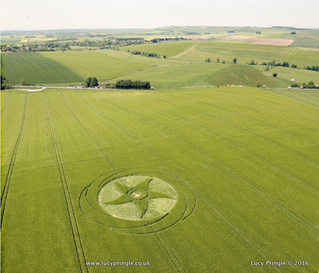 Silbury Hill, Nr Avebury, Wiltshire 4th June. This is the same circle as reported on the 28th May 2016 with additions.
