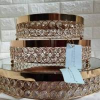 crystal metal gold beaded cake stand