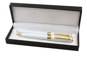 Комплект химикалка и ролер бяло и златно