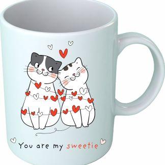 """Чаша с котета, на която пише """"Ти си моето сладурче"""""""